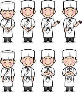 前掛けは和食店の調理人のユニフォームとしてよく目にする